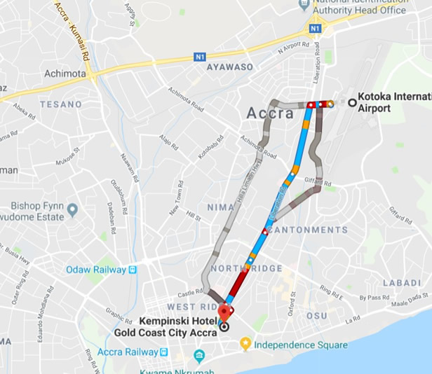 Direction to Kempinski Hotel from Kotoka International Airport, Accra